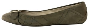 Burberry London Suede Quilted Buckle Taupe Flats