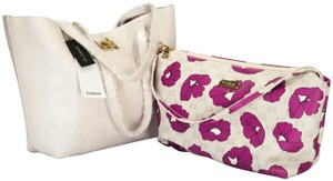 bebe Tote in white lilac