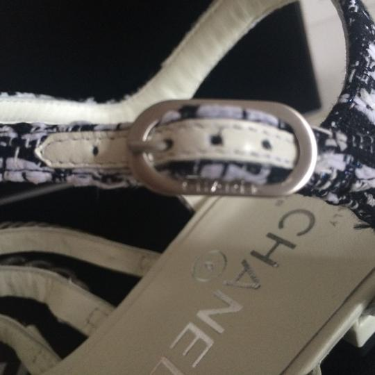 Chanel Flats Chain White, black, silver hardware Sandals Image 1