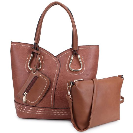 Dasein Purses Shoulder Bags Tote in Black, Brown or Army Gray Image 1
