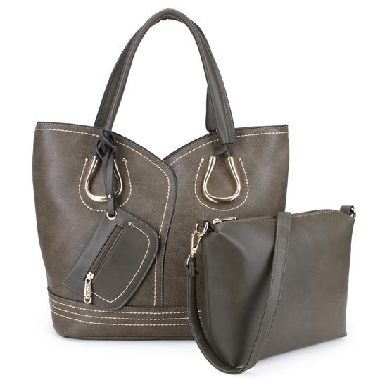 Dasein Purses Shoulder Bags Tote in Black, Brown or Army Gray Image 2
