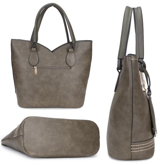 Dasein Purses Shoulder Bags Tote in Black, Brown or Army Gray Image 4