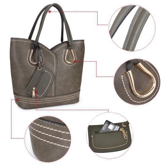 Dasein Purses Shoulder Bags Tote in Black, Brown or Army Gray Image 5