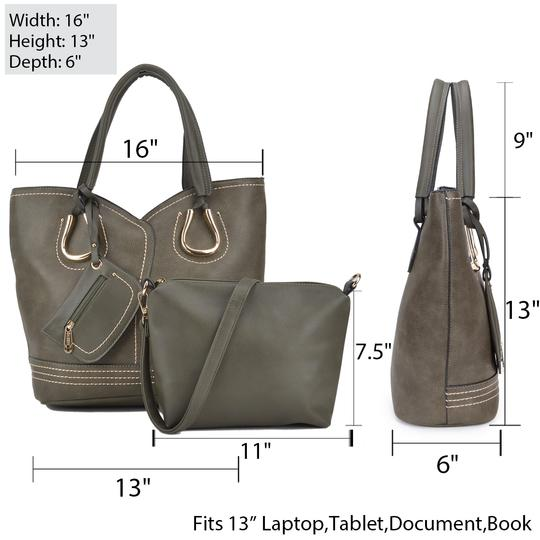 Dasein Purses Shoulder Bags Tote in Black, Brown or Army Gray Image 6