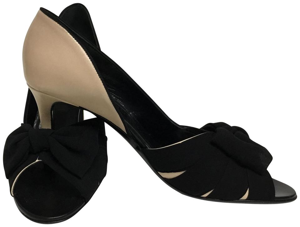 Valentino Nude Leather with Black Pumps Silk Bows Pumps Black 6ac504