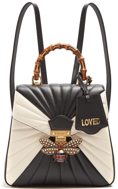 Item - Queen Margaret Backpack Pearl Bee Satchel Bamboo Black Off White Leather Tote