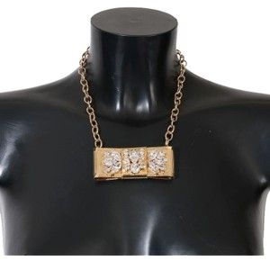 Dolce&Gabbana D1087 Women's Gold Brass Clear Crystal Bow Necklace