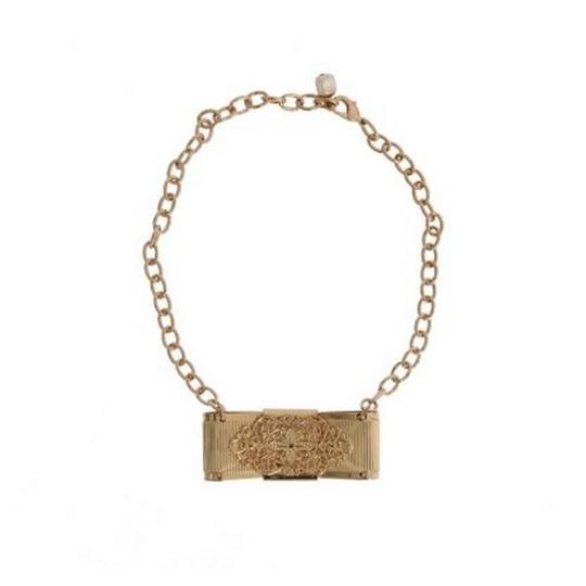 Dolce&Gabbana D1087 Women's Gold Brass Clear Crystal Bow Necklace Image 1