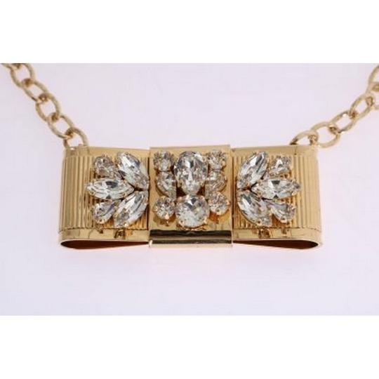 Dolce&Gabbana D1087 Women's Gold Brass Clear Crystal Bow Necklace Image 2