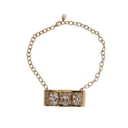 Dolce&Gabbana D1087 Women's Gold Brass Clear Crystal Bow Necklace Image 3