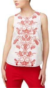 Maison Jules Cotton Embroidered Top White