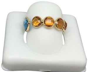 other 18K Yellow Gold Natural Citrine and Topaz Bezel Set Ring