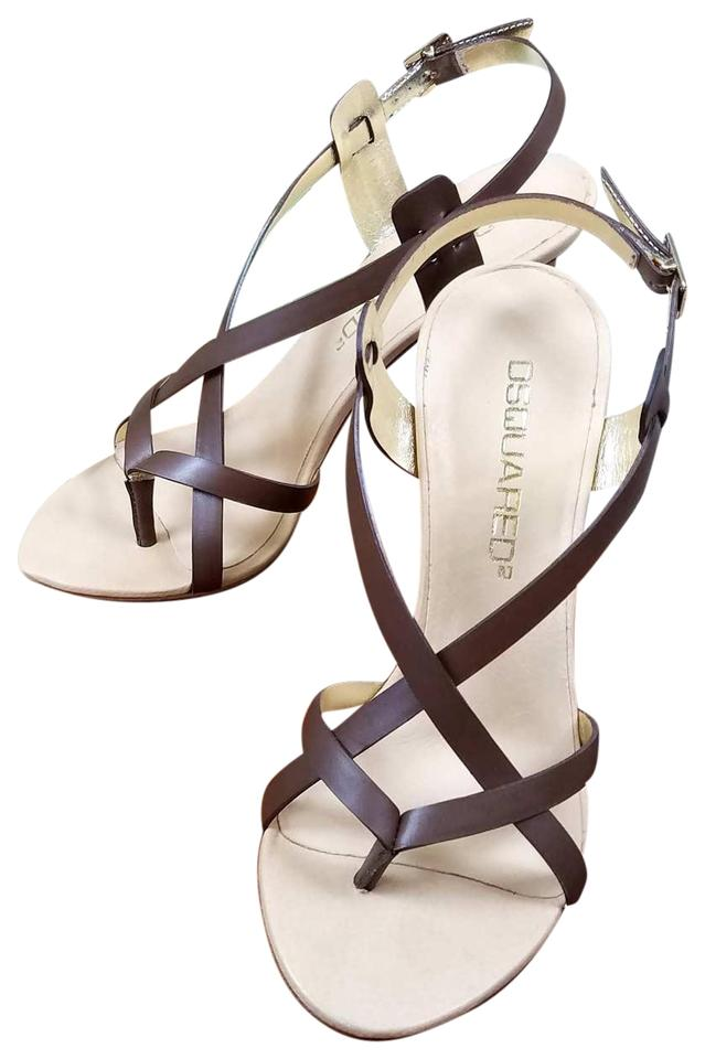 Dsquared2 Brown New Leather Strappy Sandals Stiletto Heels Slingback Sandals Strappy 406ce1