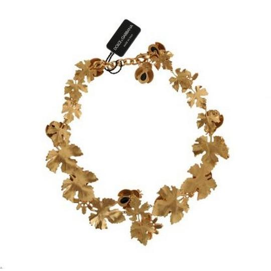Dolce&Gabbana DY1116 Women's Gold Brass Floral Crystal Ladybug Statement Necklace Image 1