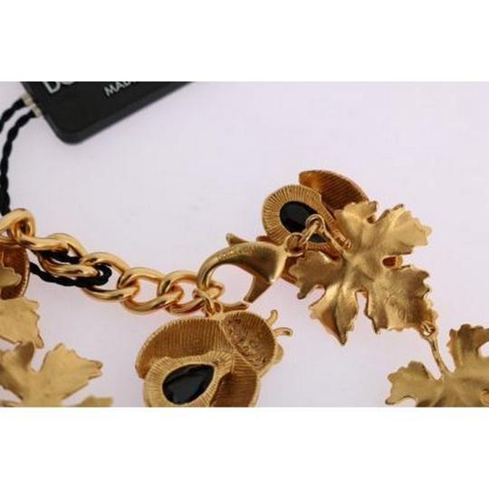 Dolce&Gabbana DY1116 Women's Gold Brass Floral Crystal Ladybug Statement Necklace Image 5