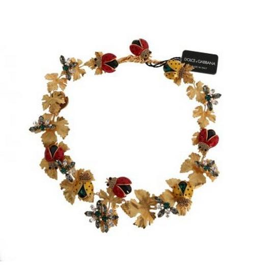 Dolce&Gabbana DY1116 Women's Gold Brass Floral Crystal Ladybug Statement Necklace Image 6