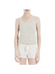 Max Studio Heathered Scoop Neck Top Light grey