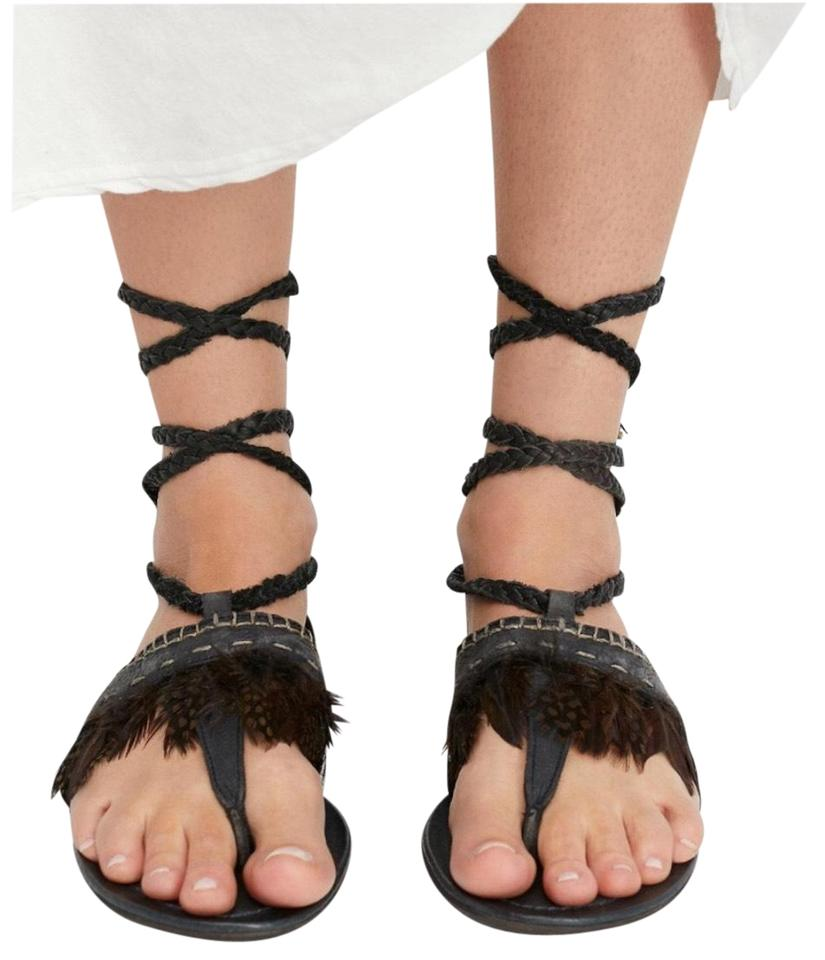 989c07d5ad2 Free People Black Bora Bora Tie Up Leather Gladiator Feather Boho Sandals  Boots Booties
