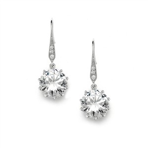 Mariell Bridal Prom Or Bridesmaids Bling Cz Drop Earrings 4083e