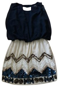 Gracia short dress navy and ivory on Tradesy