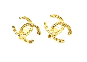 Chanel Rare CC hammered gold hardware clip on earrings
