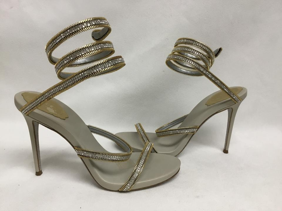 43e861ee8 Rene Caovilla Silver Crystal Wrap Around Sandals Size EU 39 (Approx. US 9)  Regular (M