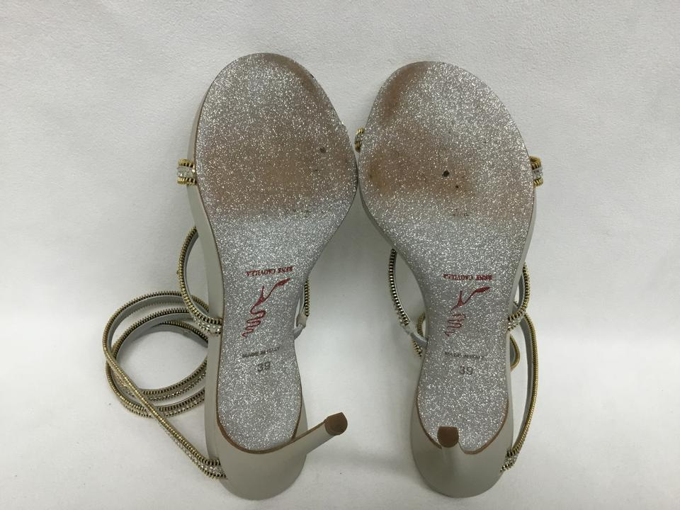 62af20541 Rene Caovilla Silver Crystal Wrap Around Sandals Size EU 39 (Approx ...