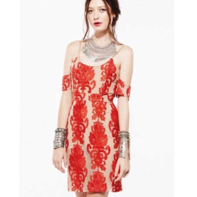 Item - Red Nude And Lace Vienna Minidress Mid-length Cocktail Dress Size 4 (S)