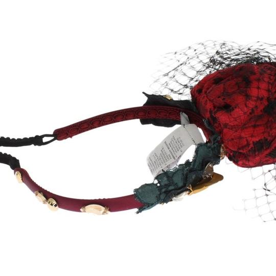Dolce&Gabbana D31623 Women's Red Roses Floral Crystal Silk Headband (One Size) Image 4