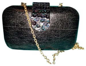 Betsey Johnson Embellished Faux Leather Sequin Night Out Box black Clutch