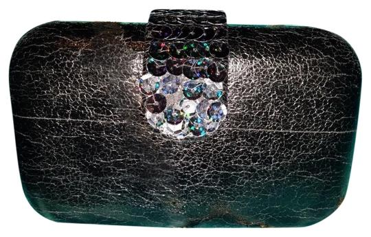 Betsey Johnson Embellished Faux Leather Sequin Night Out Box black Clutch Image 1