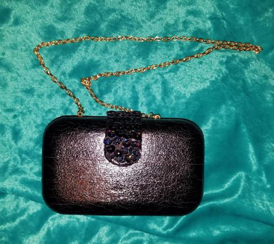 Betsey Johnson Embellished Faux Leather Sequin Night Out Box black Clutch Image 2
