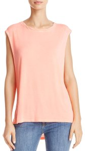 Free People Crew Neck Sleveless Muscle Top Tangerine