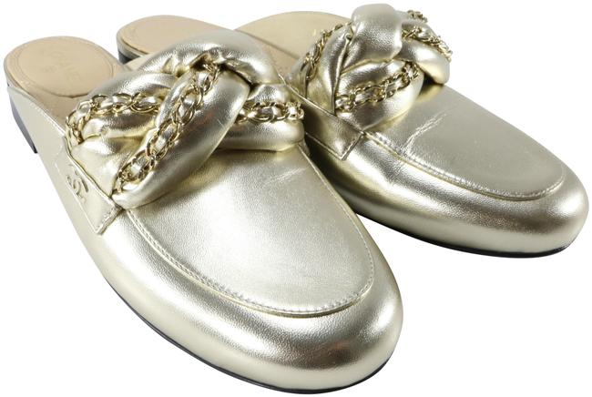 Item - Gold Metallic Shiny Leather Braided Chain Logo Detail Flats B139 Mules/Slides Size EU 39 (Approx. US 9) Regular (M, B)