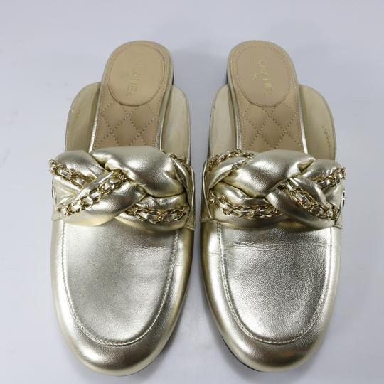 Chanel Braided Chain metallic, light gold, gold, Mules Image 10