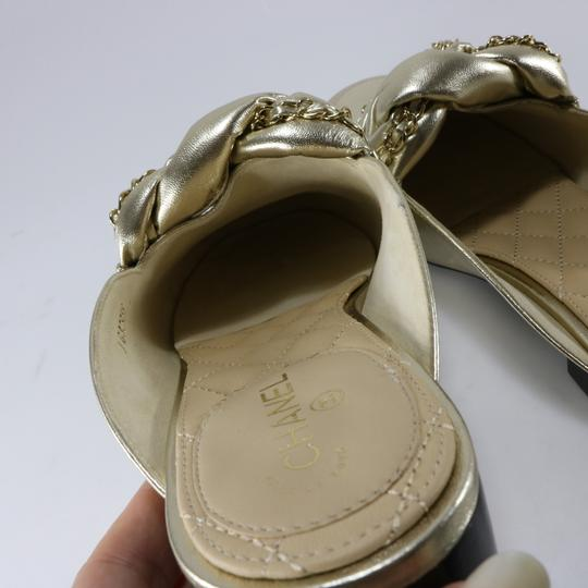 Chanel Braided Chain metallic, light gold, gold, Mules Image 4