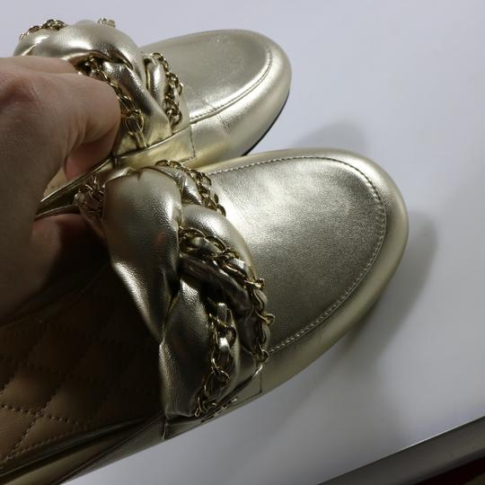 Chanel Braided Chain metallic, light gold, gold, Mules Image 9