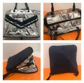 Tory Sport by Tory Burch Chevron Convertible Gym Tote in Navy and Silver Image 0