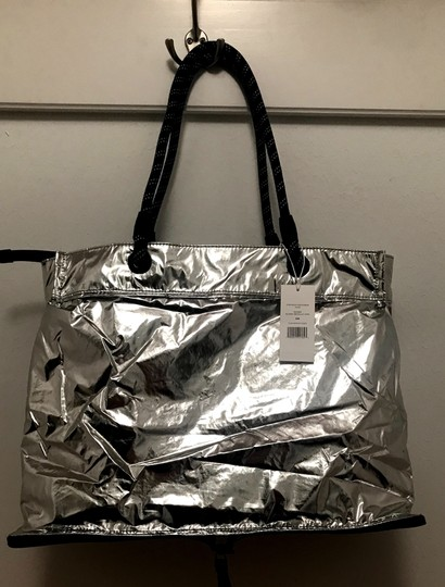 Tory Sport by Tory Burch Chevron Convertible Gym Tote in Navy and Silver Image 11