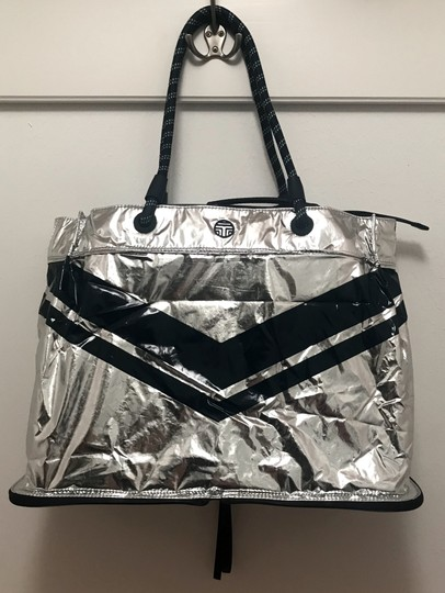 Tory Sport by Tory Burch Chevron Convertible Gym Tote in Navy and Silver Image 3