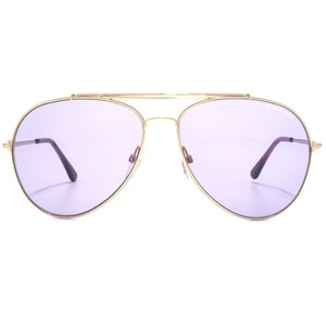 Tom Ford NEW Tom Ford Indiana Gold Metal Purple Tint Lens Aviator Sunglasses
