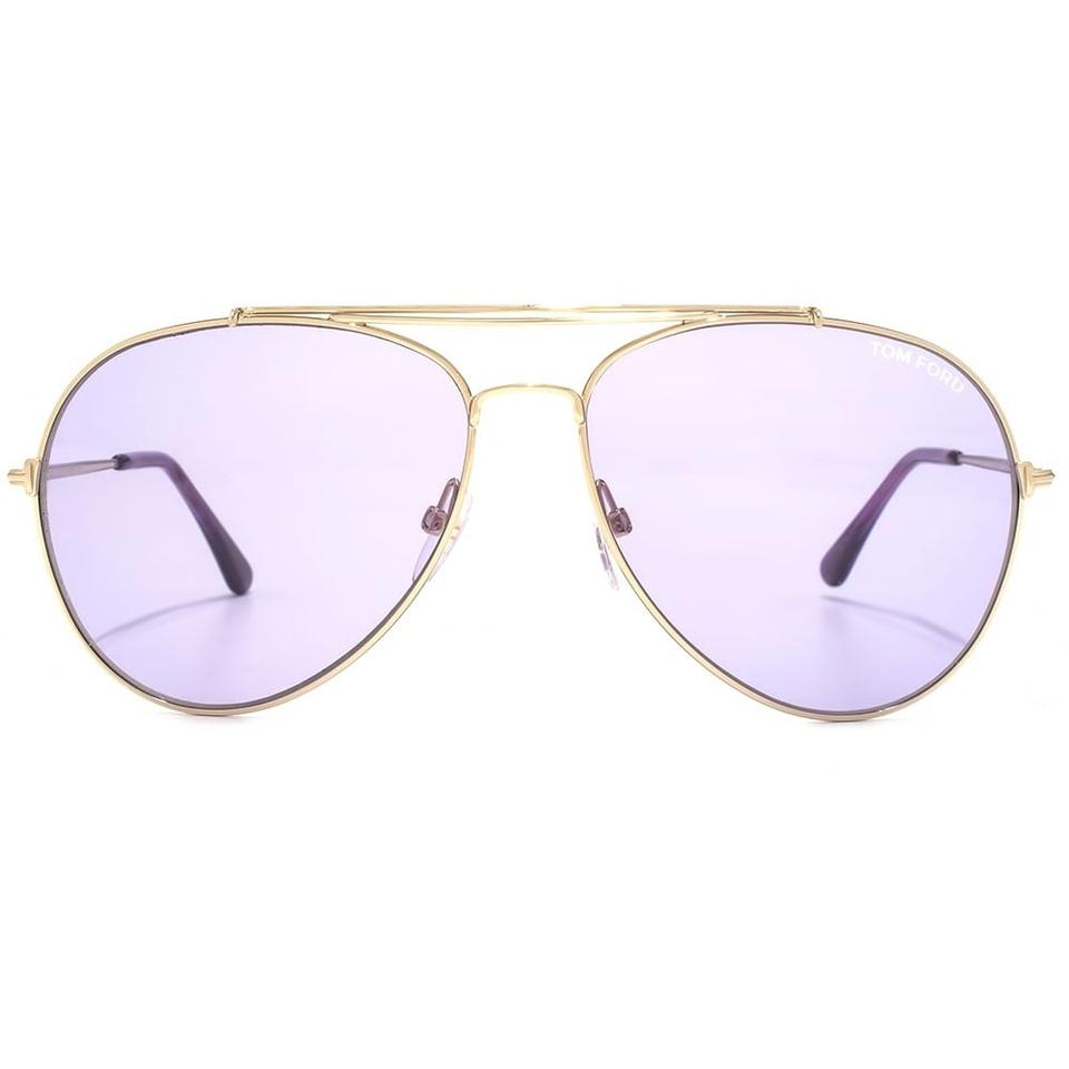 1db8e9a59598 Tom Ford NEW Tom Ford Indiana Gold Metal Purple Tint Lens Aviator Sunglasses  Image 0 ...