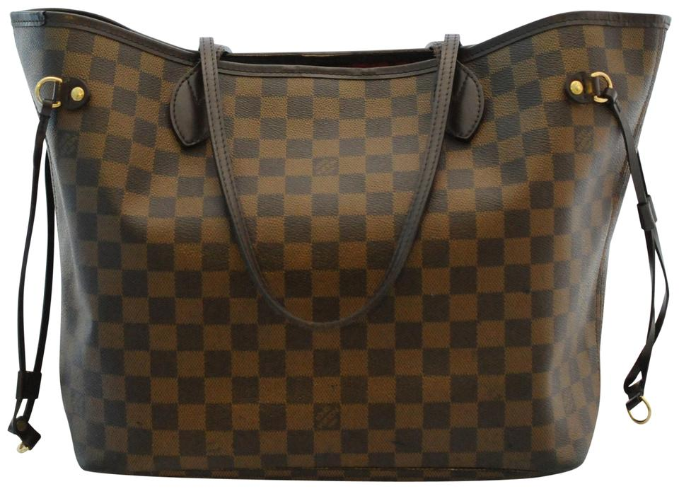 851b9d97658 Louis Vuitton Neverfull Mm Damier Ebene Red Lining 2008 Brown ...