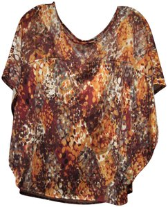 Notations Tunic Style Semi-sheer Yoke Kimono Sleeves Abstract Print Pullover Style Top Multi-Color Rust
