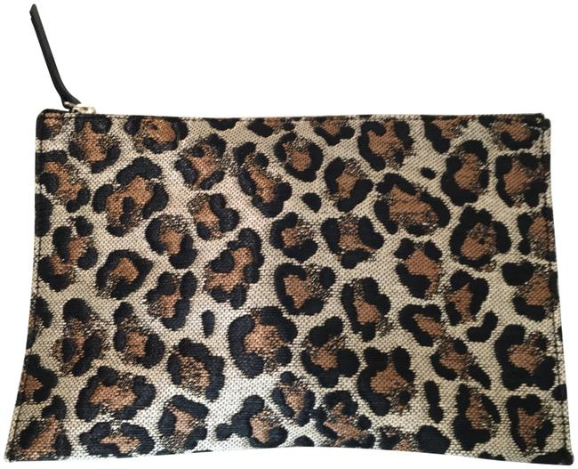 Item - Leopard Print Neiman Marcus Brown/Gold Viscose/Polyester Clutch