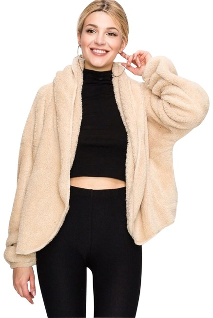 Item - Sherpa Hooded Open Front Cardigan Coat Size 14 (L)