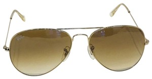 Ray-Ban Gold Rb3025 Aviator 58mm Sunglasses