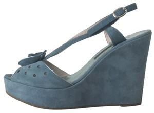 Marc Jacobs Peep Toe Suede Summer Blue Wedges