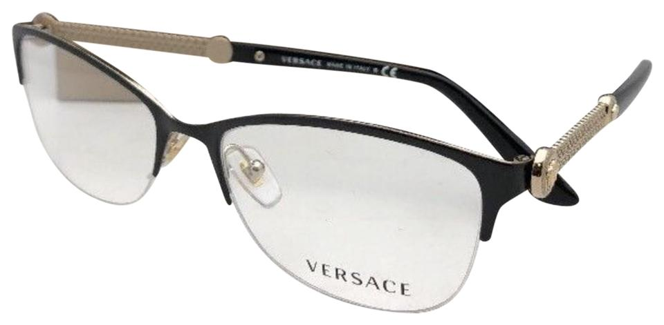 44b2accd60a0 Versace VERSACE Rx-able Eyeglasses MOD 1228 1291 53-17 Black   Gold Cat ...