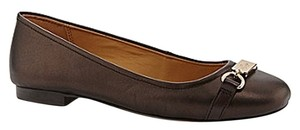 Coach Metallic Leather Leather Sole Brown Metallic Flats
